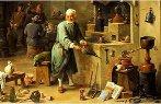 Imagem representa alquimistas em um laboratório alquímico.