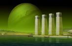 Desenho ficcionista prédios e planetas.