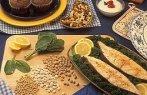 Imagem de cereais e peixes alimentos ricos em magnésio.