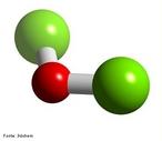 Representa��o tridimensional da mol�cula de �xido de cloro I ou mon�xido de dicloro ou anidrido hipocloroso. <br/><br/> Palavras-chave: �cido ou anidrido. �xido. Mol�cula.