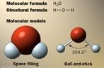 Imagem que apresenta a f�rmula molecular, a f�rmula estrutural e a representa��o dos modelos moleculares da �gua. <br/><br/> Palavras-chave: �gua. Subst�ncia. Liga��es qu�micas. Modelos moleculares.