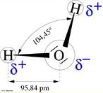 Representa��o esquem�tica de uma mol�cula de �gua. <br/><br/> Palavras-chave: Subst�ncia. �gua. Distribui��o eletr�nica. Liga��es qu�micas.
