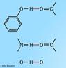 Ilustra��o que mostra tr�s mol�culas com pontes de hidrog�nio. S�o as intera��es intermoleculares mais intensas, medidas tanto sob o ponto de vista energ�tico quanto sob o ponto de vista de dist�ncias interat�micas. <br/><br/> Palavras-chave: Ponte de hidrog�nio. Liga��es qu�micas. Solu��es.