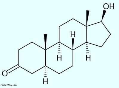 Dihidrotestosterona (DHT) (Nome completo: 5α-Dihidrotestosterona, abreviado para 5α-DHT; INN: androstanolona) é um metabólito biologicamente ativo do hormônio testosterona, formado principalmente na próstata, testículos, folículos capilares e glândulas adrenais pela enzima 5α-redutase através da redução da ligação dupla 4,5. A dihidrotestosterona pertence à classe dos componentes chamados andrógenos, também geralmente chamados de hormônios androgênicos. A DHT é cerca de 30 vezes mais potente que a testosterona devido à sua afinidade aumentada pelo receptor de andrógenos. Fórmula molecular C19H30O2. Massa molar 290,440 g/mol. <br/><br/> Palavras-chave: Dihidrotestosterona. Medicamentos. Química orgânica. Doping.