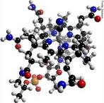 A cobalamina (ou cianocobalamina), também é conhecida como vitamina B12. Nome IUPAC (sistemática) &#945;-(5,6-dimetilbenzimidazolil )cianocobalamina. Molécula em 3D. <br/><br/> Palavras-chave: Vitamina B12. Cobalamina.