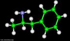 Representação tridimensional da molécula de Anfetamina, substância que tem a estrutura química básica da beta-fenetilamina. Sob esta designação, existem três categorias de drogas sintéticas que diferem entre si do ponto de vista químico. As anfetaminas, propriamente ditas, são a dextroanfetamina e a metanfetamina. No mundo, em geral, são caracterizados pelos seus usuários como: caminhoneiros (por provocar insônia), estudantes (por aumentar o poder de concentração), frequentadores de raves (por dar mais energia ao organismo), jovens adolescentes obsessivos por sua forma física (por provocar perda de apetite e consequentemente perda de peso). São encontradas em medicamentos como: Benzidina, Bifetamina, Dexedrine, Dexamil, Amphaplex, Dualid, Inibex, Hipofagin, Moderine. Nomenclatura IUPAC: 1-phenylpropan-2-amine. Fórmula molecular: C9H13N. Massa Molar: 135,2084 g/mol. <br/><br/> Palavras-chave: Moléculas. Anfetamina. Substâncias químicas. Medicamentos. Drogas.