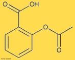 Representação da molécula de aspirina ou ácido acetilsalicílico que é um fármaco do grupo dos anti-inflamatórios não-esteroides (AINE) e também um antiplaquetário, utilizado como anti-inflamatório, antipirético, analgésico e inibidor da agregação das plaquetas sanguíneas. <br/><br/> Palavras-chave: Aspirina. Ácido acetilsalicílico. Fármaco.