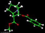 Representação tridimensional da molécula de Cocaína ou benzoilmetilecgonina ou éster do ácido benzoico. É uma droga alcaloide, derivada do arbusto Erythroxylum coca Lamarck, estimulante com alto poder de causar dependência. Seu uso continuado, pode levar a dependência, hipertensão arterial e distúrbios psiquiátricos. A produção da droga é realizada através de extração, utilizando como solventes álcalis, ácido sulfúrico, querosene e outros. Nomenclatura IUPAC: 3-benzoiloxi-8-metil-8-azabiciclo. [3.2.1]octano-4-carboxilico. Fórmula Molecular: C17H21NO4. Massa Molar: 303,353 g/mol. <br/><br/> Palavras-chave: Moléculas. Cocaína. Substâncias químicas. Medicamentos. Drogas.