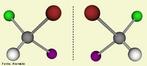 Representação de duas moléculas de CHFCl estereoisômeros, isomeria espacial ou estereoisomerismo os isômeros espaciais possuem a mesma fórmula molecular e também a mesma fórmula estrutural plana, diferenciando apenas nas fórmulas estruturais espaciais. <br/><br/> Palavras-chave: Estereoisômeros. Moléculas.