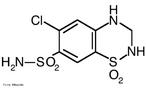 A hidroclorotiazida é um diurético tiazídico usado principalmente na hipertensão arterial. A hidroclorotiazida pertence ao grupo dos saluréticos e atua no tubulo distal do nefron a nível do cotransportador sensível das tiazidas (TSC) que é um canal de suporte Na+/Cl-. Deste modo há uma maior excreção de NaCl e de água (por efeito osmótico). Esta perda de água aumenta a diurese e diminuí o volume líquido extracelular e consequentemente baixa a pressão sanguínea. Fórmula molecular C7H8N3ClO4S2. Massa molar 297,741 g/mol. Nomenclatura IUPAC (sistemática) 9-cloro-5,5-dioxo-5^6-tia-2,4-diazabiciclo[4.4.0]deca-6,8,10-triene-8-sulfonamida.  Palavras-chave: Hidroclorotiazida. Medicamentos. Química orgânica. Doping.