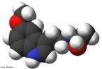 Representação da molécula de melatonina em 3D. é um hormônio produzido por diversos animais e plantas. Em animais superiores, é o produto de secreção da glândula pineal. Quimicamente, é uma indolamina sintetizada a partir do triptofano (aminoácido essencial encontrado nas proteínas) e, devido ao seu caráter anfifílico, pode atravessar facilmente as membranas celulares por difusão. Em consequência, a melatonina não é armazenada no interior do pinealócito e é imediatamente liberada dentro dos capilares sanguíneos que irrigam a glândula pineal após a sua formação. <br/><br/> Palavras-chave: Melatonina. Molécula. Antioxidante.