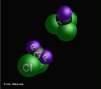 Representação de moléculas de CFC em 3D. A química do cloro é a principal responsável pela destruição da camada do ozônio. A produção industrial e a utilização dos clorofluorcarbonetos (CFC) introduziram uma nova fonte de cloro na atmosfera. <br/><br/> Palavras-chave: CFC. Camada de ozônio. Clorofluorcarbonetos.
