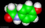 Representação tridimensional da molécula de acetoaminofeno ou pareacetamol. A origem das palavras acetaminofeno e paracetamol tem a ver com a nomenclatura usada em química orgânica: N-acetil-para-aminofenol e para-acetil-aminofenol. Nomenclatura IUPAC: N-(4-hidroxifenil)etanamida. Fórmula molecular: C8H9NO. Massa Molar: 151,163 g/mol. Paracetamol ou acetaminofeno é um fármaco com propriedades analgésicas, mas sem propriedades anti-inflamatórias clinicamente significativas. Atua por inibição da síntese das prostaglandinas, mediadores celulares responsáveis pelo aparecimento da dor. Esta substância tem também efeitos antipiréticos. <br/><br/> Palavras-chave: Moléculas. Paracetamol. Acetaminofeno. Substâncias químicas. medicamentos. Drogas.
