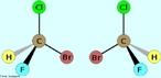 Representação da quiralidade do Carbono, também conhecido como carbono assimétrico ou quiral (carbono que apresenta 4 ligantes diferentes). Um objeto ou um sistema é quiral se não pode ser sobreposto à sua imagem especular, ou seja, que não se consegue dividir de modo que os dois lados da divisão sejam iguais, isto é, não possui plano de simetria. <br/><br/> Palavras-chave: Quiralidade. Carbono quiral. Assimetria do carbono. Isomeria óptica.