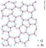 Representação da estrutura atômico-molecular do Dióxido de Silício - Sílica (SiO2). Em seu estado natural pode ser encontrado em diversas formas diferentes. Possui 17 formas cristalinas distintas, entre elas o quartzo, o topázio e a ametista. A sílica é o principal componente da areia e a principal matéria prima para o vidro. Também é usado na fabricação de cimento Portland. <br/><br/> Palavras-chave: Sílica. Dióxido de silício. Estrutura atômica.